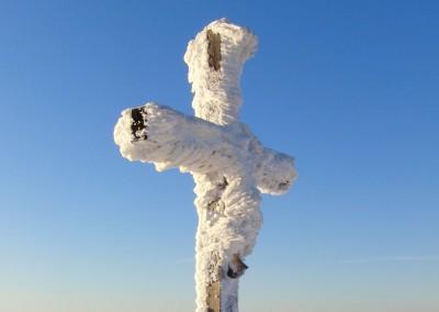 Lusen Gipfelkreuz Winter